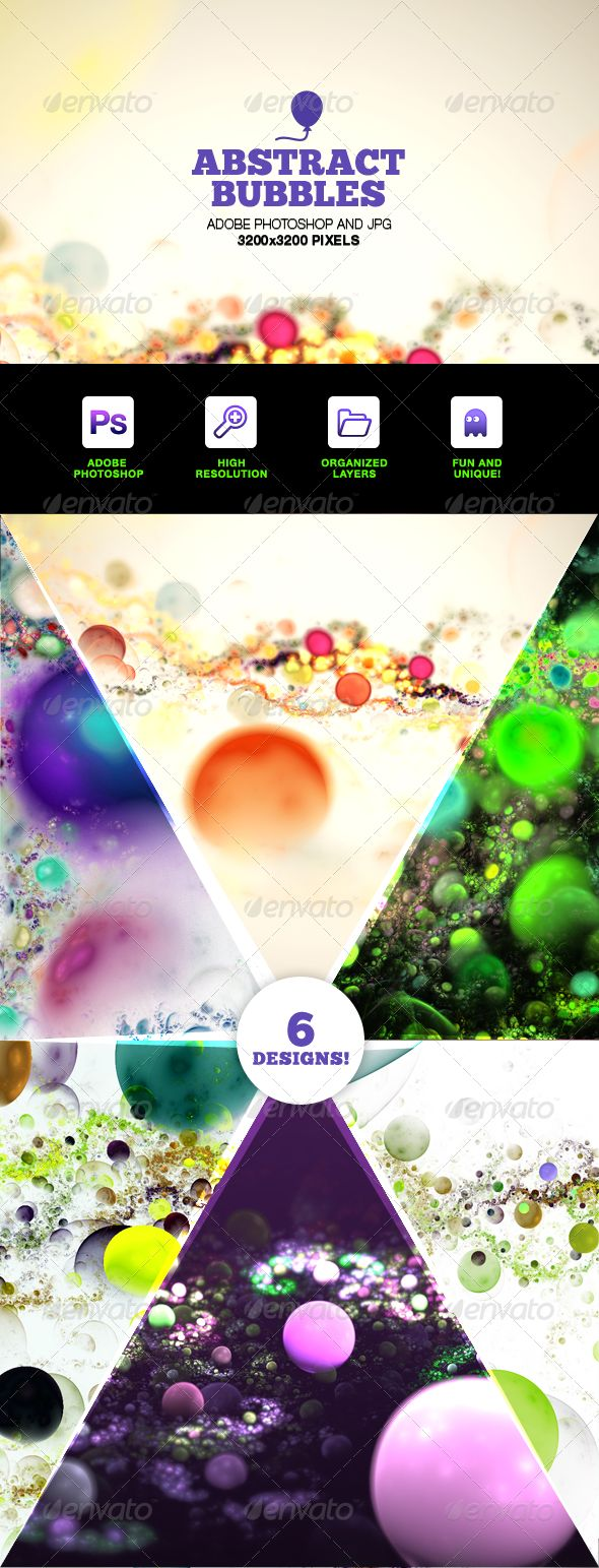 Abstract Bubbles Backgrounds Photoshop Set  #GraphicRiver        Abstract Bubbles Backgrounds Photoshop Set  These fun and exciting bubble renders are great for integrating into your printed music or show flyer designs, your websites, games or iOS applications. Use them to take a flat and boring image and make it pop like a rock! Included in this set   6 Photoshop PSDs which are easy to alter colors and curves and retain transparency  6 Pre-exported JPGs in 2048×2048 resolution (or higher!)…