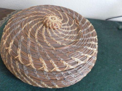 Handmade Pine Needle Baskets : Vintage natural pine needle basket coiled woven handmade s