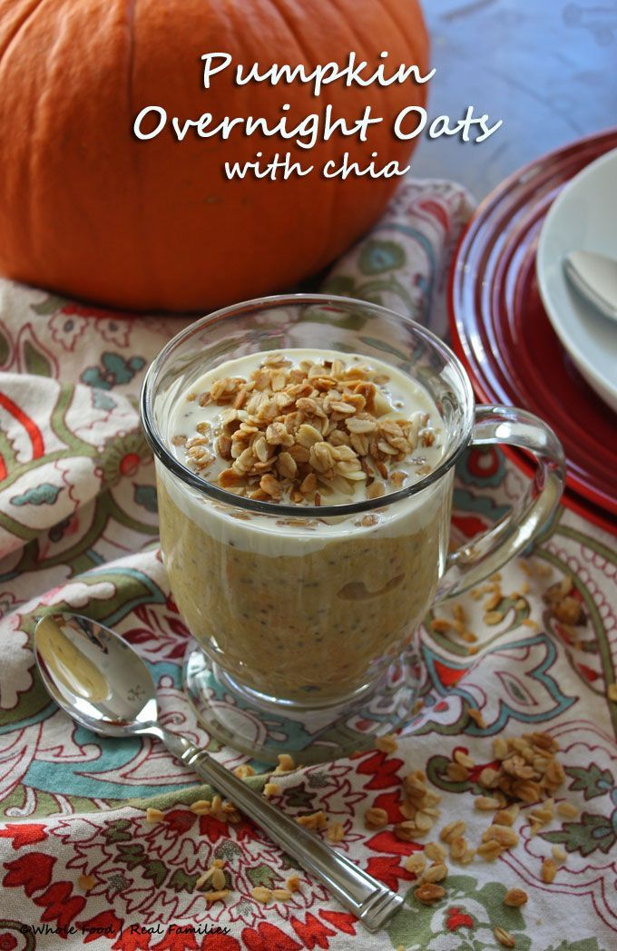 Pumpkin Overnight Oats with Chia are a perfect solution for all the fresh and canned pumpkin you have in your refrigerator. Rich and creamy, with a little maple and lots of pumpkin spice. They are so delicious you might find yourself skipping the pumpkin pie and making these for breakfast instead.  @wholefoodrealfa