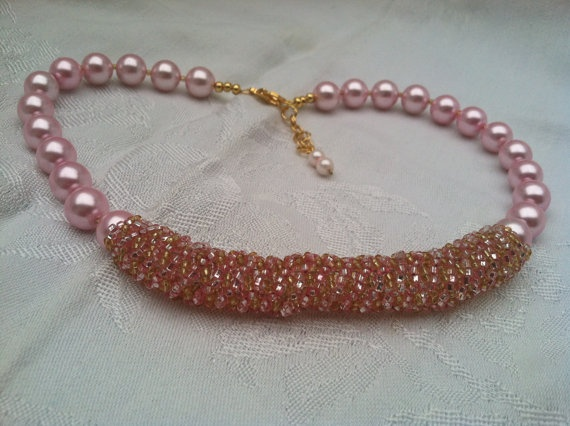 Pink pearl and seed bead honeycomb by SimplySassysCreation on Etsy, $49.00