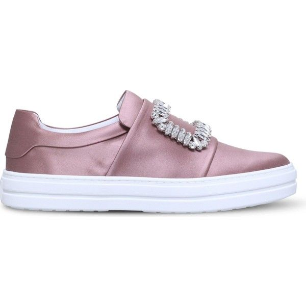 Roger Vivier Sneaky Viv silk-satin trainers ($1,510) ❤ liked on Polyvore featuring shoes, sneakers, sport sneakers, slip on sneakers, rubber sole shoes, sports trainer and round toe sneakers
