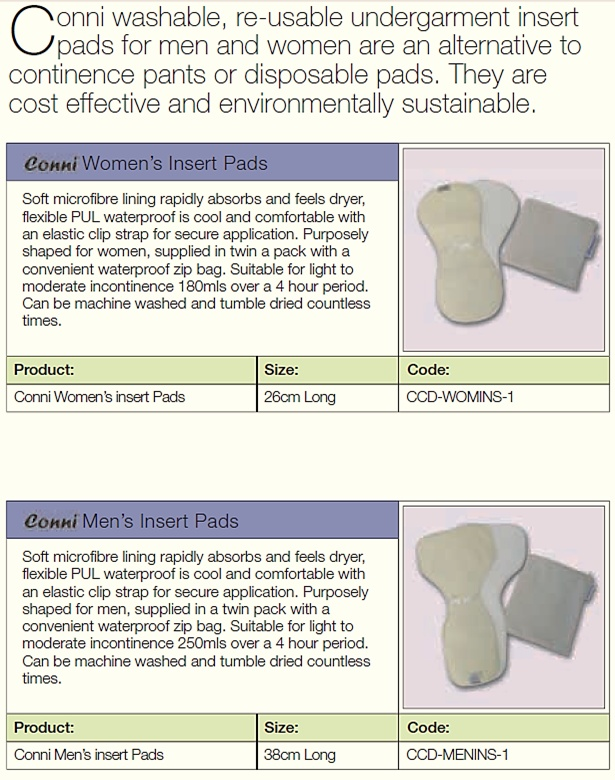 Adult Incontinence Insert Pads  Western Cape, South Africa    Contact Conni-Western Cape (Pty) Ltd.  Adult Incontinence Products  Western Cape, South Africa  Call: 081 772 6015  Email: JP.vZ@Conni.co.za