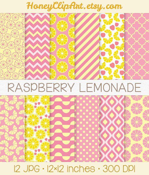 Pink Lemonade Digital Paper Raspberry Lemonade by HoneyClipArt