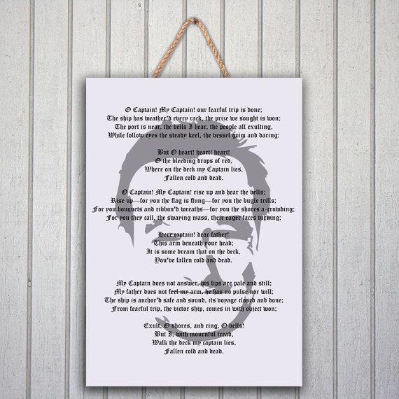 Robin Williams O Captain inspiring poem by DomuzcukPrintables, $10.00