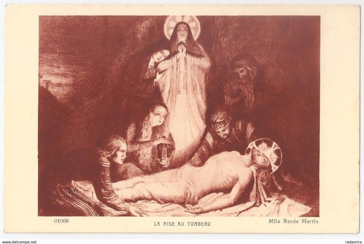 "Carte Postale Ancienne ""LA MISE AU TOMBEAU"" - Mlle Renée Martin Religion - Salon de Paris - France."