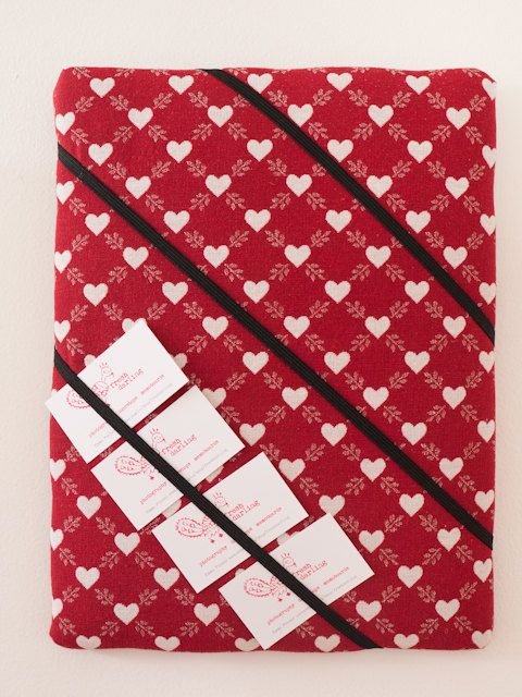 Red love heart handmade fabric business card by freshdarling