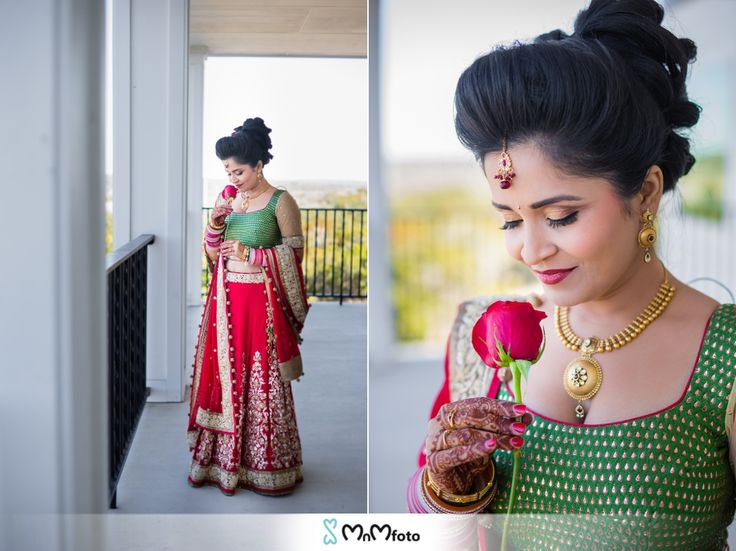Bridal portraits poses and ideas. Green and red bridal dress.  Kendall Plantation indian wedding, Boerne, Texas. Indian wedding photography by www.MnMfoto.com