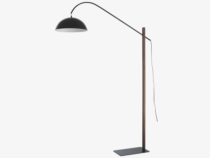 BIP BROWN Wood Black and walnut adjustable overreach floor lamp - HabitatUK