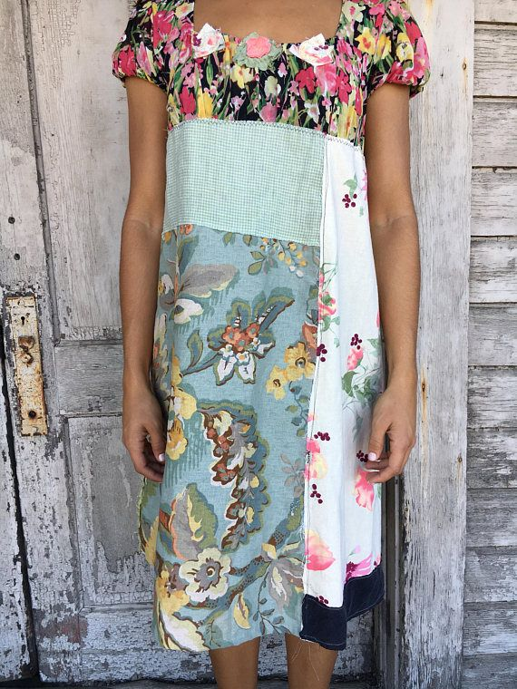 Charlene dress-medium large-artsy-Eco Clothing-Upcycled
