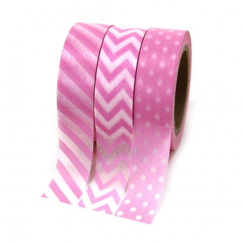 Pink Washi Tape Collection   3 ct
