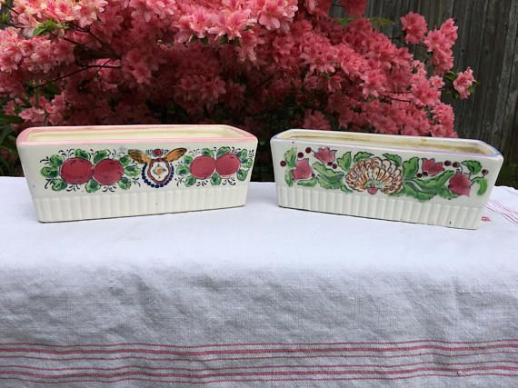 Vintage Ceramic Handpainted Japanese Planters Cottage or