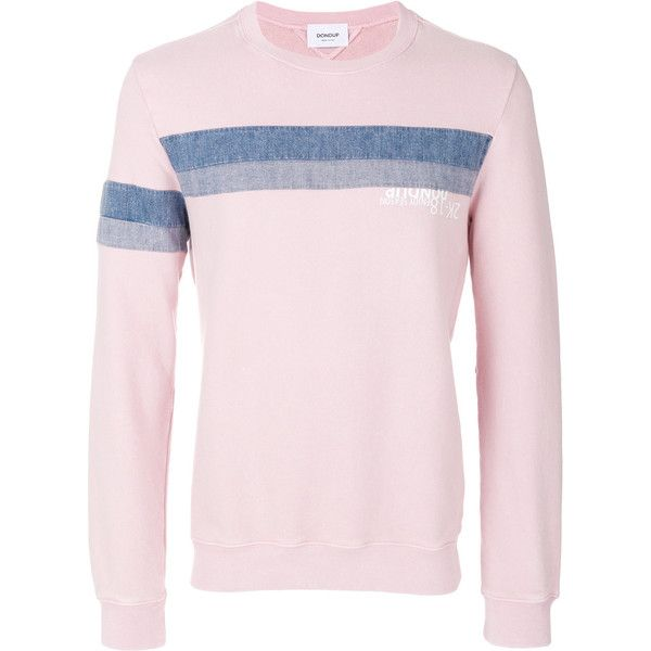 Dondup denim stripe sweatshirt ($208) ❤ liked on Polyvore featuring men's fashion, men's clothing, men's hoodies, men's sweatshirts, mens pink sweatshirt, mens blue sweatshirt and mens striped sweatshirt
