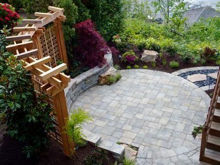 courtyard curvilinear design garden paving pergola random trellis