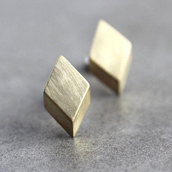 Geometric Modern Post Earrings, Brushed Golden Brass Diamond Sterling Silver Stud Earrings