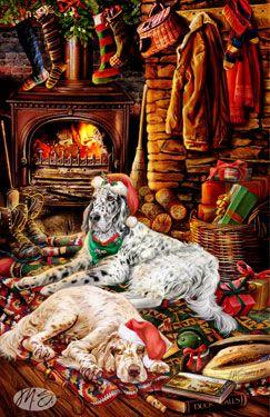 English Setter - Fireside Christmas