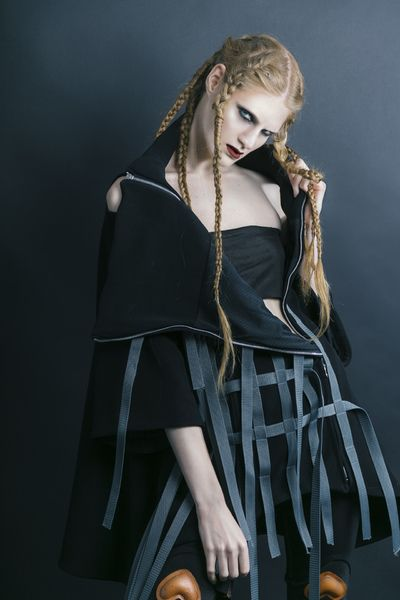Andrada Bodea #fashiondesign #prototype #fashionblogger #london #ba16 #zef #zefling #fashion #futuristicfashion #postapocaliptic #strongwomen #milaalexm #mila #andrada #bodea #coat #pockets #dark #black #braids #hairstyles #lcf  #futuristic urbanwear urban hoodie latex