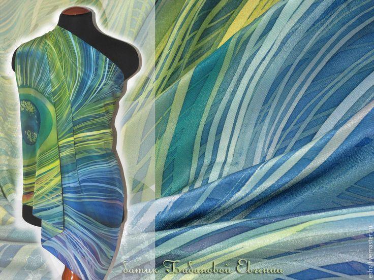 """Купить Шелковый платок батик """"Перо"""", ручная роспись - Батик, шелк, шелк натуральный"""