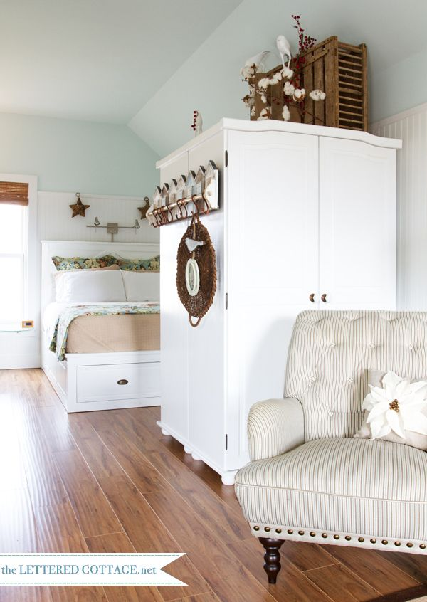 Southern Cottage | The Lettered Cottage    How cool is that ---- Wooden pigeon/chicken carrier on top of the armoire.