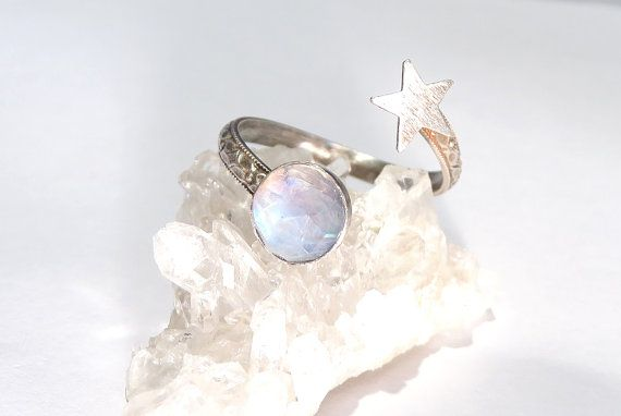 Moon and Star Ring Open Ring Moonstone Ring Star by AWildViolet