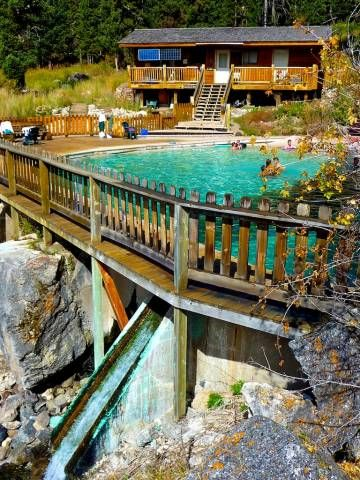 Wyoming: Granite Hot Springs, 1-hr E of Jackson 10-mi off the main hwy on a dirt road: a large concrete soaking pool built in 1933 by the CCC: large wooden deck & granite boulders: full-time caretaker: picnic ground, changing room but no running water, FEE