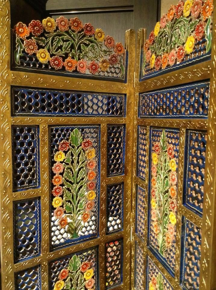 Detail of one of our hand painted Indian dividing screen.