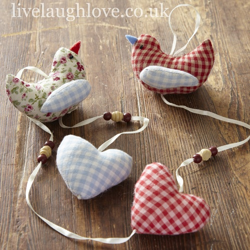 Hanging Fabric Heart & Birds Garland