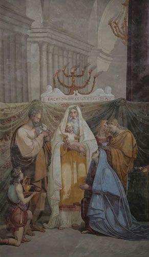 Kynttilänpäivä.  Tuntematon tekijä 1700- luvun puolestavälistä: Jeesuksen esittely temppelissä. Pyhän Marian kirkon seinämaalaus, Rieti, Italia. Valokuva Marco Peretto.
