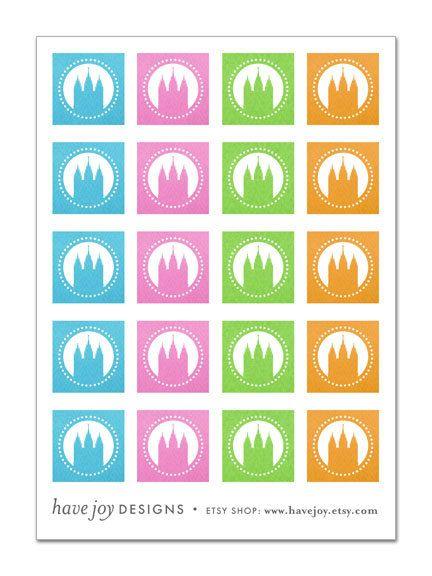 1x1 inch Graphic Squares in Printable Collage Sheet - SLC Temple. $2.50, via Etsy.