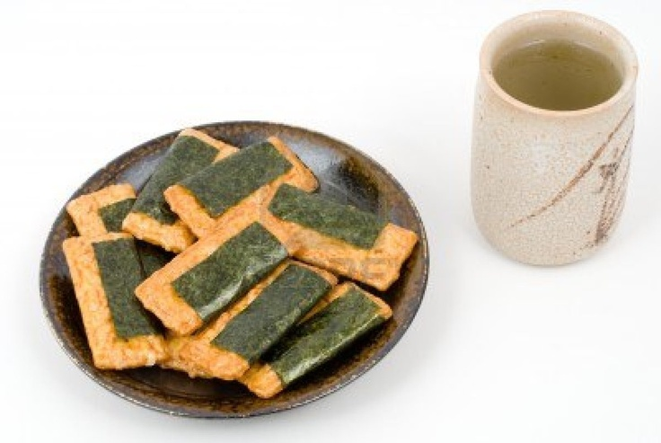 Yum!  Senbei--Japanese rice crackers--are one of my favorite snacks!  I especially like the ones wrapped in nori.