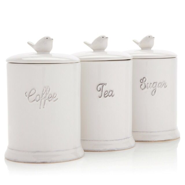 Gorgeous shabby chic tea coffee sugar jars - Coffee tea and sugar canisters ...