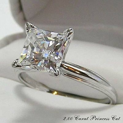 something simple like this could be so beautiful!! PRINCESS CUT ENGAGEMENT 2.00 CARAT RING HYBRID DIAMOND / 2 CT. 14KT. GOLD
