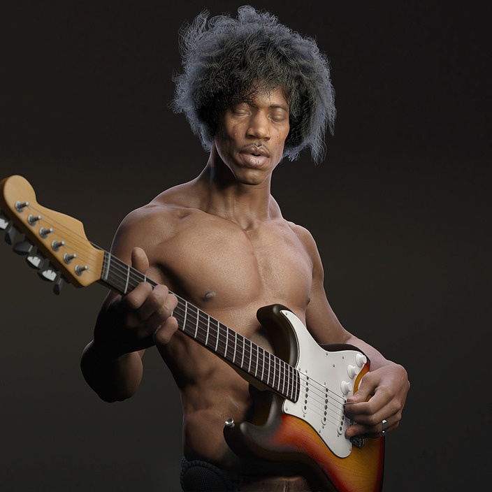 Guitarist: Guns Phil, 3D Characters, Jimi Hendrix, Digital Art, Parks, Guitarist, 3D Art, Character Design, Fans Art