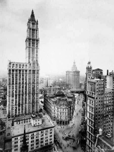 THE WOOLWORTH BUILDING/Broadway &Post Office(center)& Center Street with Municipal Building(1914)-&Park Row Bld.at right (world tallest 1899-1908)/NY Architecture Images/-Seaport and Civic Center/ THE WOOLWORTH BUILDING /Landmark/ Tallest building in the world 1913-30/ 792 feet, 241 meters. 55-stories /Top 25 NY Buildings/  architect  Cass Gilbert/  233 Broadway /1911-1913 /Neo-Gothic,  Art Deco/ Height: 792 feet, 241 meters/ Rising from a 27-storey base, with limestone and granite lower…