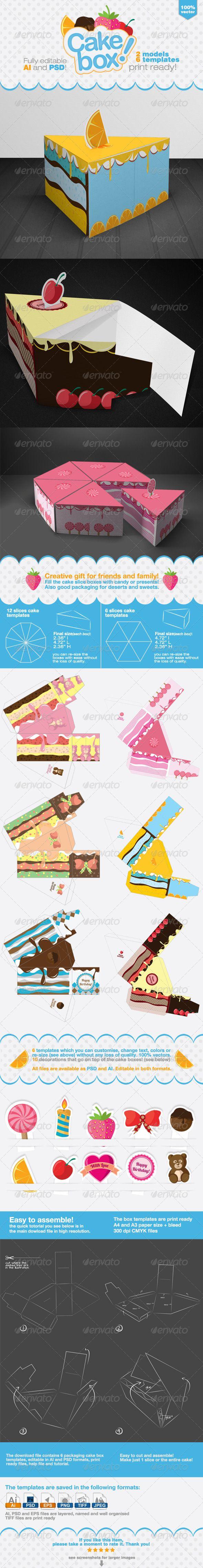 Cake Packaging Gift Box - Packaging Print Templates
