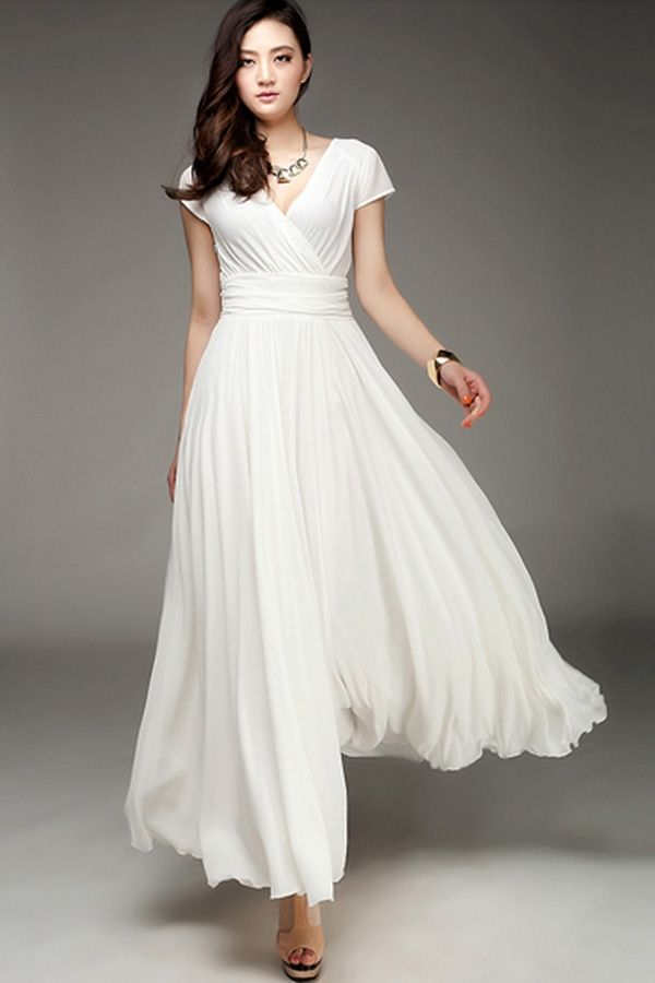 Wrapped v neck high waist maxi dress cute maxi dress for Long sleeve casual wedding dresses