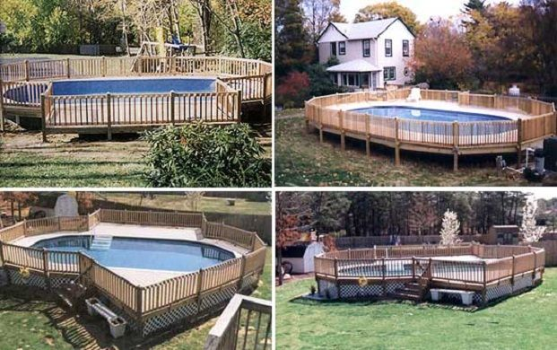 Semi Inground Pools for Your Magnificent Backyard: Wooden Fence Oval SHape Swimming Pool Green Lawn Semi Inground Pools Ideas ~ dickoatts.com Garden