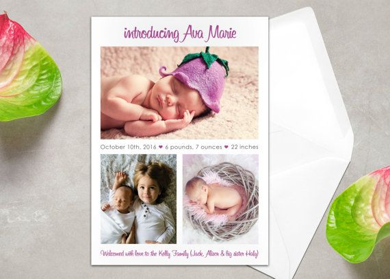 7 best BIRTH ANNOUNCEMENT ENVELOPES Photo Baby Announcement – Birth Announcement Pinterest