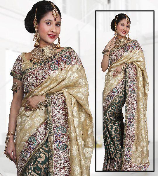 Designer Wedding Silk Saree with Embroidered Peacock Motifs