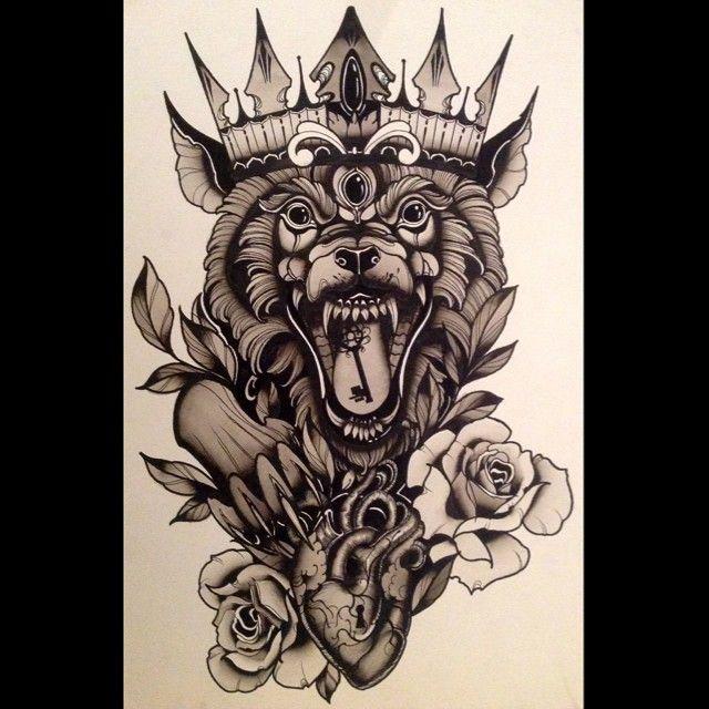 the beast king art painting inkpainting tattooart darkart darkartist mattbassil. Black Bedroom Furniture Sets. Home Design Ideas