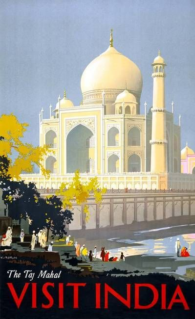 Really would like a poster like this one for the spare room. Retro travel print - visit India