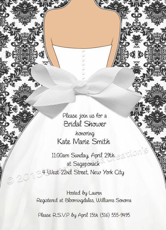Damask & Bow Bridal Shower Invitation by SweetMelissaCreation
