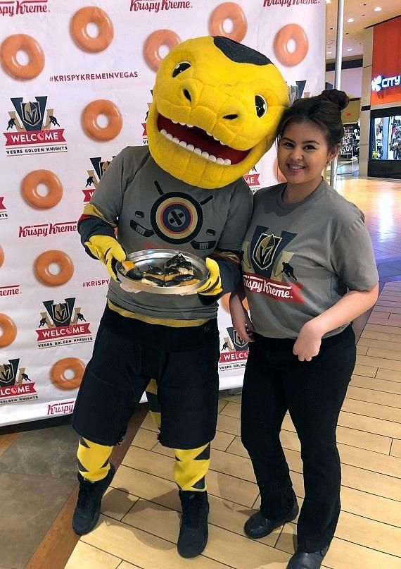 0025d4c228bb Team mascot Chance the Gila Monster with member of Krispy Kreme Donuts at  Excalibur Hotel in Las Vegas
