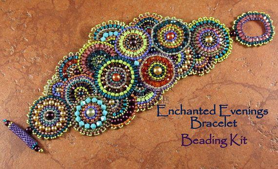 Beading Kit  Enchanted Evenings Bracelet by StickLizardDesigns, $50.00 on Etsy Circular Brick Stitch