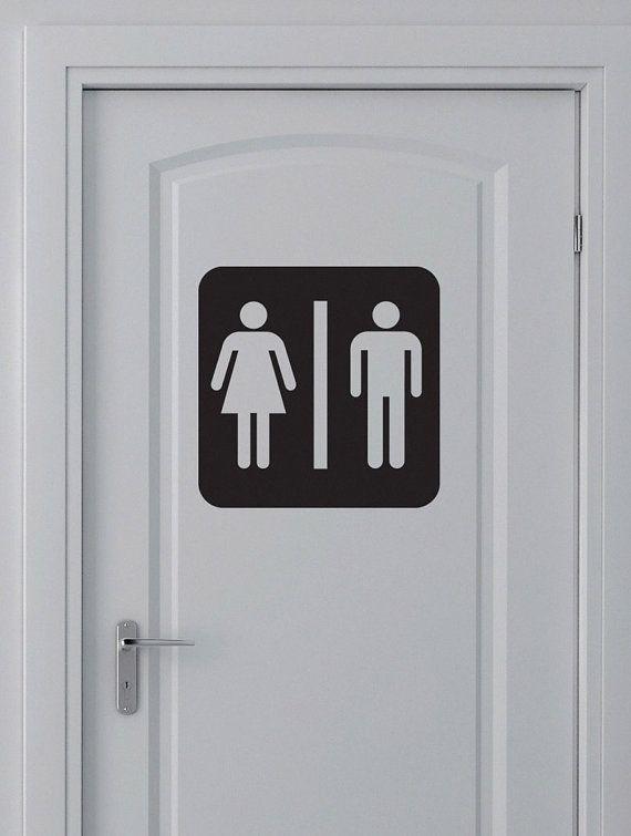 Unisex bathroom sign toilet sticker vinyl decal wc for Unisex bathroom ideas