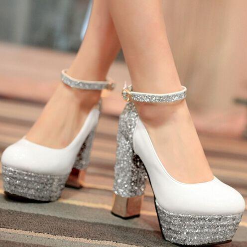 CX1587 Brand Design Women Pumps hick High Heels Shallow Mouth Women Shoes Party Dress Pumps big size 34-43 Sequins Single shoes
