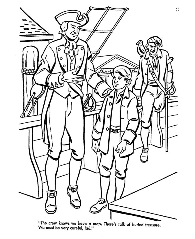 robinson crusoe coloring pages - treasure island pirate coloring pages boarding the