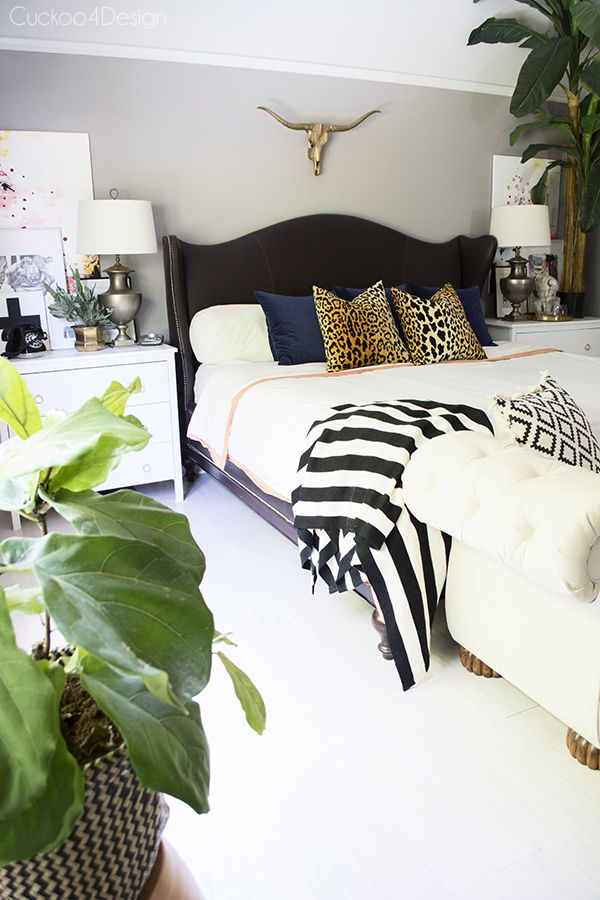 Pearl City Click Bamboo - revealing my new floor - Cuckoo4Design; stunning bedroom in neutrals with black and white, greenery, leopard pillows, bull head