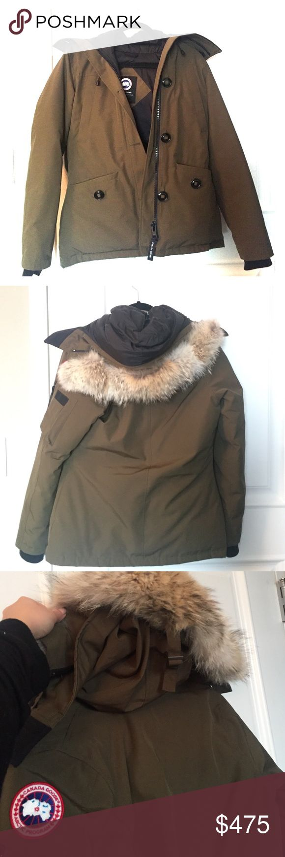 Military Green Canada Goose Jacket Style: LADIES MONTEBELLO PARKA Worn less than ten times. In perfect new condition. Adjustable fur hood (can also unzip the fur piece) also have the tag that I purchased with Canada Goose Jackets & Coats Puffers