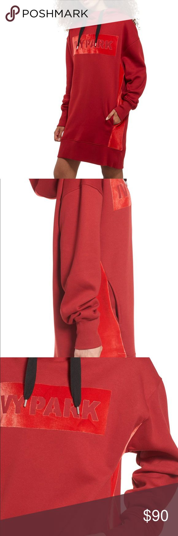 """Ivy park velvet logo oversized dress hoodie XS Ivy Park US sizes shown. True to size. XS=4, S=6, M=8-10, L=10-12, XL=12-14. DETAILS & CARE Contrasting scarlet side panels and a chest logo in fiery velvet add understated cool to this roomy, chili-red hoodie dress in supersoft brushback jersey. 33"""" length (size Medium) Funnel neck Drawstring hood Long sleeves with ribbed cuffs Front slant pockets 51% polyester, 49% cotton with 98% cotton, 2% spandex rib trim Machine wash, dry flat ivy park…"""