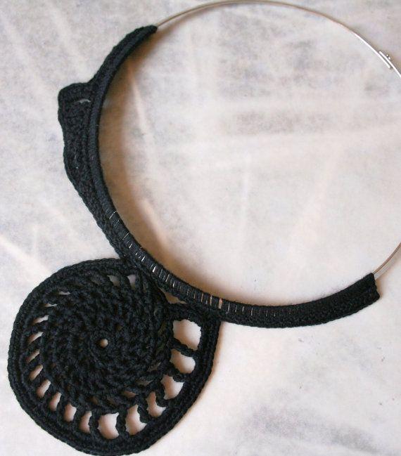 Black summer necklace collar by BLOWBALLgr on Etsy, $37.00